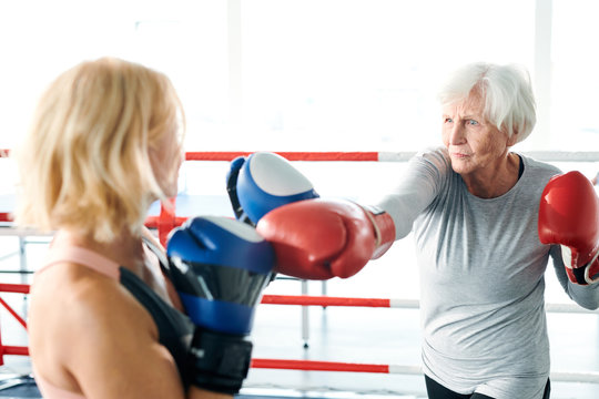 Women on boxing ring