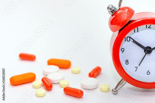 Alarm Clock With Medicament: medicines, pills, capsules, tablets