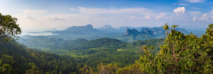 Landscape in the northern Krabi area seen from Tab Kak Hang Nak Hill Nature Trail, Thailand. To the left Phang-Nga Bay.