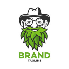 Modern logo old man with a beard of leaves