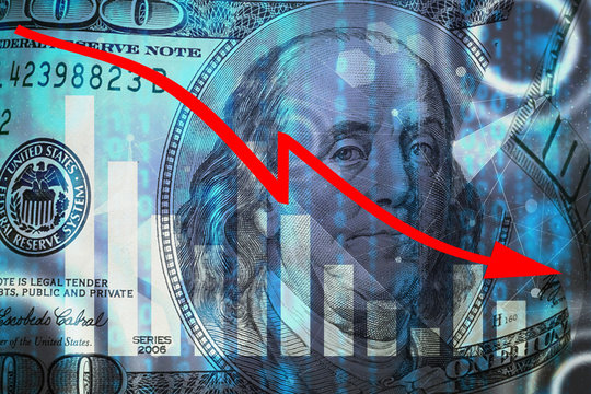 Arrow down from the elements of dollar bills The concept of the global financial crisis, problems in the economy and the trend of falling