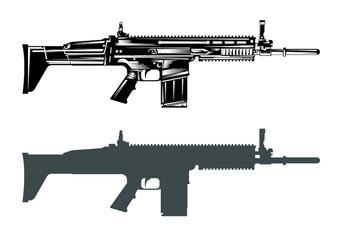 fn scar machine gun assault rifle vector image set