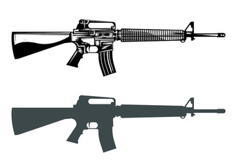 m16 machine gun assault rifle vector image set