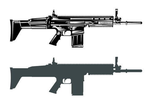 fn scar machine gun assault rifle vector image set