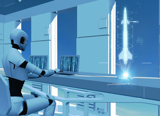 Artificial intelligence, robot. Cyborg on the computer. Sci-fi. Science fiction. Programming. Rocket and missile hologram. Military defense. 3d render