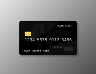 Realistic bank card template isolated. Finace object plastic card.