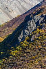 Ridgeline of granite pokes above low scrub brush