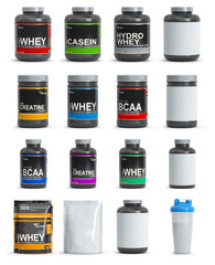 Sport nutrition containers. Set of templates of jars and packs of differnt types. Whey, bcaa and creatine.