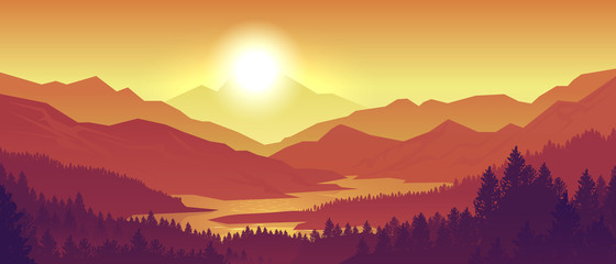Mountain sunset landscape. Realistic pine forest and mountain silhouettes, evening wood panorama. Vector illustration wild nature background Wall mural