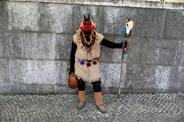 """A member of the """"Entroido de Samede"""" folk group poses for a photo before the parade of the 14th International Festival of the Iberian Mask in Lisbon"""