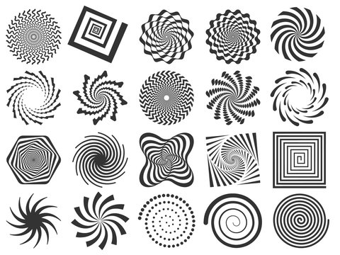 Swirl silhouette. Spiral swirling spin, swirls circle and abstract swirled silhouettes vector illustration set