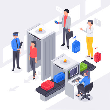 Isometric airport security. X ray check passengers baggage scanning, travelers luggage scan and metal detectors vector illustration