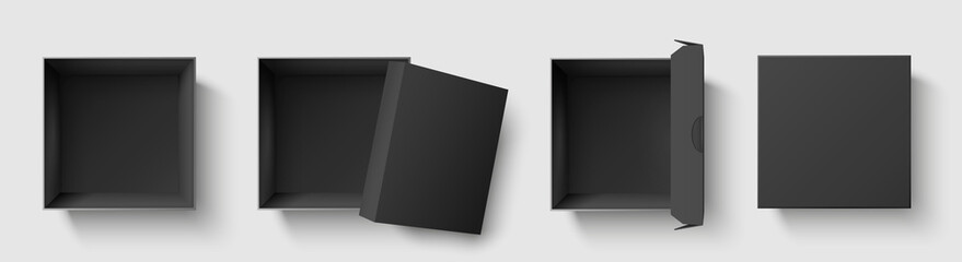 Black top view box. Dark package square boxes with open cap, empty cube packages mockup 3d isolated template vector illustration set