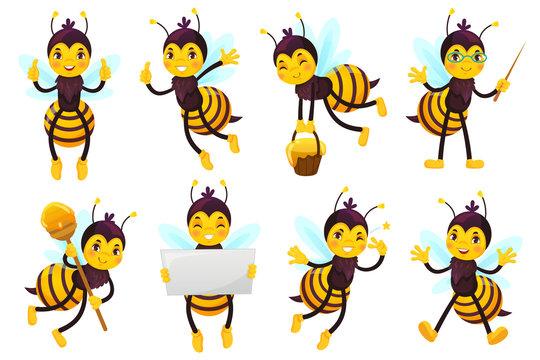 Cartoon bee mascot. Cute honeybee, flying bees and happy funny yellow bee character mascots vector illustration set