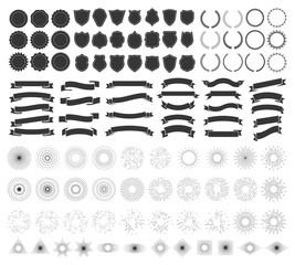Hipster badge design. Retro emblem, vintage badges and logo frame elements vector collection