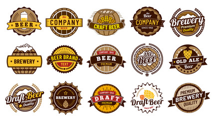Beer label badges. Retro beers brewery, lager bottle badge and vintage beer emblem isolated vector illustration set