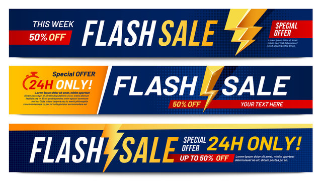 Flash sale banners. Lightning offer sales, only now deals and discount offers lightnings banner layout vector illustration set