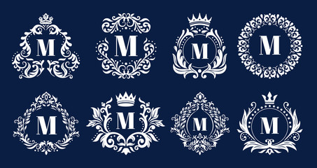 Luxury monogram frame. Ornamental monograms, heraldic initials logo ornament and elegant letters border frames vector illustration set