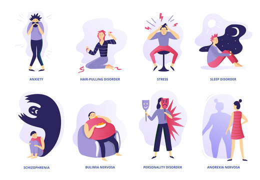 Mental disorders. Psychic illness, people psychotherapy and psychiatric problems. Mentality disorder vector illustration set