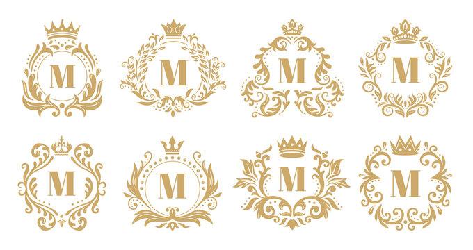 Luxury monogram. Vintage crown logo, golden ornamental monograms and heraldic wreath ornament vector set