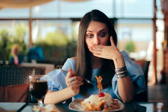 Woman Feeling Sick While Eating Huge Meal