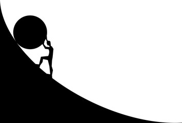 man pushing big boulder uphill. Vector cartoon silhouette in flat design isolated on white background  Wall mural