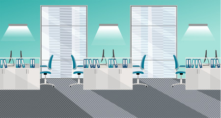 Flat illustration of modern office room interior with large windows in skyscraper with furniture and computers. Open space for 6 people. Order on tables, document folders, light from windows