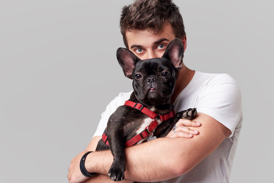Hipster Bearded guy holding and hugging a nice French Bulldog dog in his arms with love and playing with him, against a grey background