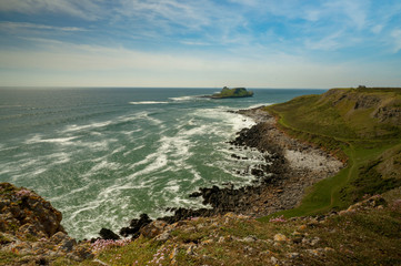 A view to Worms Head in Rhossili, Wales
