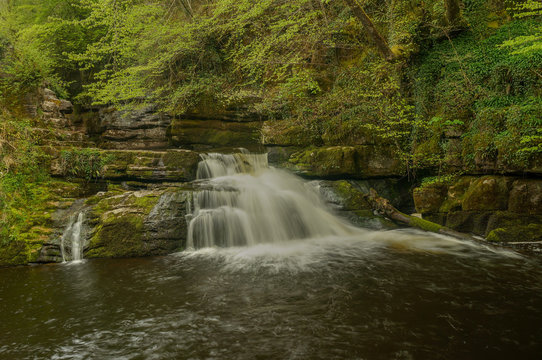 Blue pool waterfall on the River Taf, Wales
