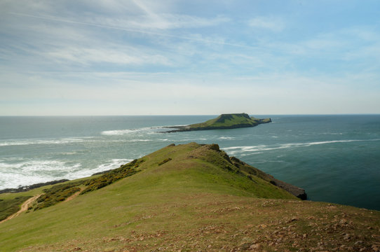 Tide is out on Worms Head at Rhossili, Wales