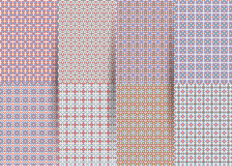 Set of 6 abstract seamless checkered geometric patterns. lilac geometric ackground for fabrics, prints, children's clothes. Suits for Decorative Paper, Fashion Design and House Interior Design.