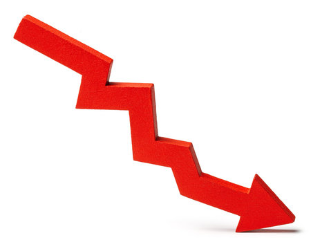 Chart with red down arrow isolated on white background. Falling growth in business.