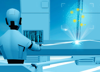 Artificial intelligence, robot. Cyborg on the computer. Science fiction. Sci-fi. Programming. Fingerprint hologram. Violation of privacy, hacked identity. 3d render