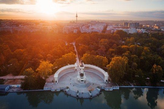 Madrid El Retiro Park aerial view