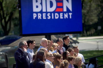 Democratic 2020 U.S. presidential candidate and former Vice President Joe Biden poses with his family for a group portrait after speaking during a campaign rally in Philadelphia