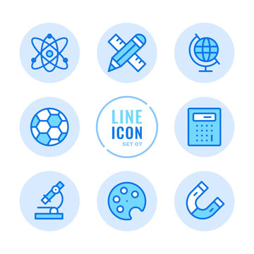 School subjects vector line icons set. Mathematics, physics, chemistry, sport, art, geography outline symbols. Modern simple stroke graphic elements. Round icons
