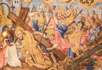 Fresco in Church of the Holy Sepulchre, Jerusalem - Jesus on the Via Dolorosa