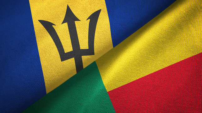 Barbados and Benin two flags textile cloth, fabric texture