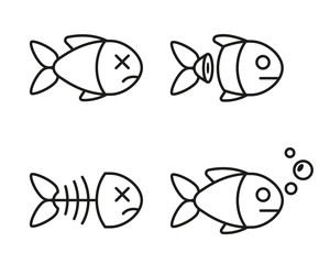 set of fish icons. dead and live fish