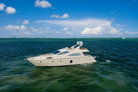 Aerial photo luxury yacht in the ocean