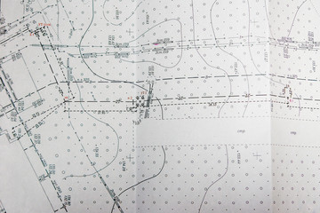 topographic terrain plan, location of communications in the terrain Wall mural
