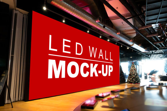 Mock up large LED wall on stage in showroom