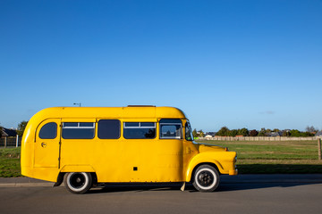Restored retro yellow school bus