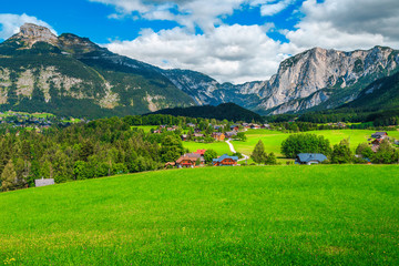 Wall Mural - Wonderful summer alpine village landscape with green fields and mountains