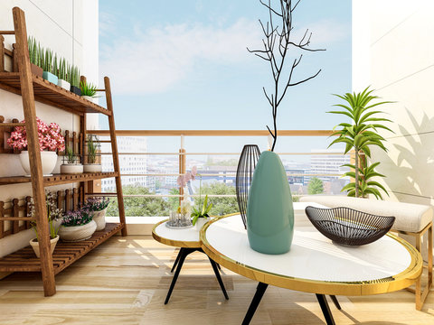 Beautiful outdoor balcony at home, sunny