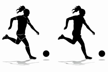 silhouette of woman soccer player, vector draw