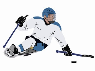 illustration of invalid ice hockey player, vector drawing