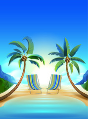 Two sun loungers and two palm trees on tropical beach
