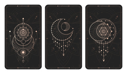 Vector set of three dark backgrounds with geometric symbols, grunge textures and frames. Wall mural
